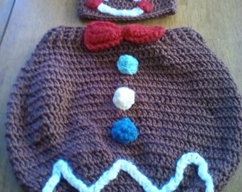 Gingerbread Crocheted Hat & Cocoon Photo Prop