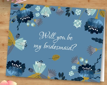 Printable Wildflowers Will You Be My Bridesmaid or Thank You Greeting Card - Blue Gold, Editable PDF, Instant Download