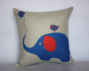 Blue Elephant Pillow Covers, Elephant Pillow covers, Bird Cushion Covers, Decorative Pillow Cases, Home decor Throw Pillows, baby room decor