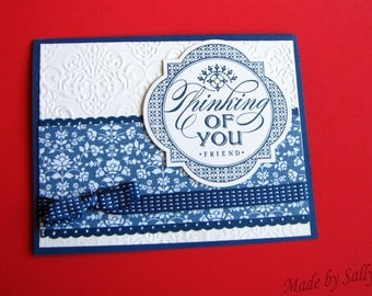 Blue Ribbon Thinking of You Greeting Card, Handmade
