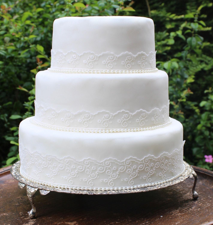 Vintage Lace & Pearl Wedding Cake Trim Ivory Wedding Cake