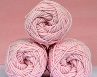 Kacenka - soft cotton/acrylic yarn for crochet and knitting, Light pink color, No. 3324, 1 ball/50 g, Producer NCT