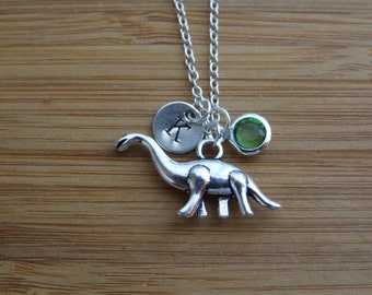 Dinosaur Necklace, Jurassic Sauropod Fans Necklace, Personalized Necklace, Hand Stamped Initial, Birthstone Necklace, Monogram