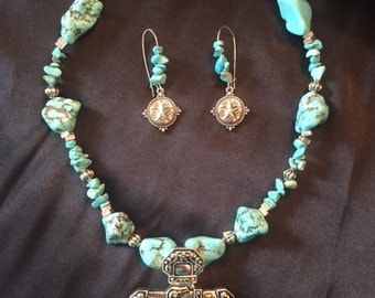 Cross Turquoise and Silver Necklace and Earrings