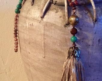 "OOAK ""Emerald Elephant"" Tassel Necklace"