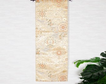 "Wall hanging Japanese Kimono Obi "" Calico Flower pattern, No.2""(Fu-a007-2)"