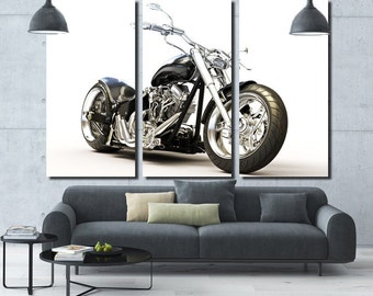 Chopper Wall Art Multi Panels Set Motorbike Wall Art  Motorcycle Canvas Art Interior Design Art  Digital Giclee