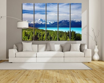 Large Wall Mount Cook Canvas Color Aoraki Multipanel Canvas Mount Cook New Zealand Canvas Art Large  1-3-4-5 Panels Canvas