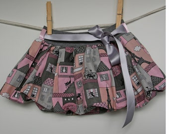 Girls bubble skirt, baby skirt, toddler skirt, cat print cotton, pink grey, elastic waist, with lining, universal size, 2-5 years