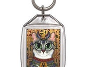 Bast Cat Keychain Egyptian Goddess Bastet Egypt Fantasy Cat Art Keychain Keyring Cat Lovers Gifts