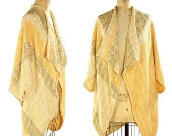 80s RARE Handwoven Nikos Jacket / Vintage 1980s Cocoon Cardigan Duster / Handmade Linen Ethnic Artsy Top / Hippie Boho Gypsy Bohemian Hippie