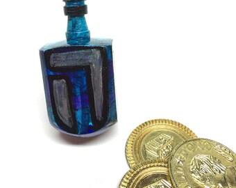 Blue Dreidel - Hanukkah Gift for Her or Him - Wood Dreidel - Hand Painted - Unique Judaica - Jewish Gift - Chanukah Party Favor