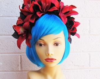 Tiki Goddess Headband, Red and Black Flower Crown, Day of the Dead Headband, Day of the Dead Headdress