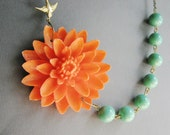 Coral Flower Necklace,Coral Floral Necklace,Teal Necklace,Bridesmaid Necklace,Statement Necklace,Coral Necklace,Coral Jewelry,Bib Necklace