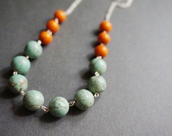 Turquoise Necklace,Stone Necklace,Orange Necklace,Beaded Necklace,Statement Necklace,Bridesmaid Gift,Gift For Her,Bib Necklace,Boho Necklace