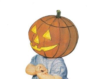 Original Art Funny Cute Artwork Jack o Lantern Halloween Pumpkin Wall Art Paper Collage Humor