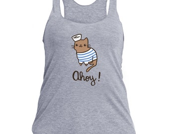 Cute Workout Tank Top Ahoy Sailor Cat Cute Gift for Her American Apparel Tri Blend Nautical Shirt