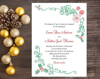 Christmas Wedding Invitation, Mistletoe and Poinsettia Invitation - December Wedding Invitation