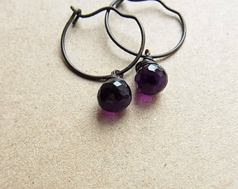 Dark Brass Hoop Ear-rings with Royal Amethyst Onion Briolettes // Black Brass Hoop Ear-rings // Amethyst Candy Kiss (One Pair)