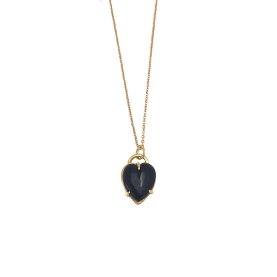 HEART NECKLACE black gold silver onyx opal turquoise