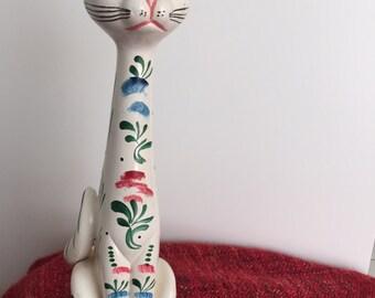 Ceramic Hand Painted Folk Art Mid Century 1960's Feline Cat Figurine  Vintage Home Decor