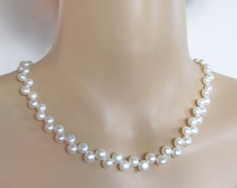 White Bread Pearl Sterling Silver Necklace - White Freshwater Pearl Necklace - Bridal Party Pearl Necklace - 116007