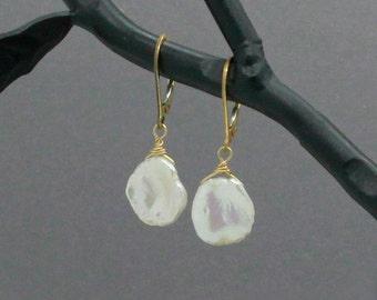 Keshi Pearl Earrings, Leverback, Gold Filled, Beachy Bridal Jewelry, Beach Wedding Earrings, Large Keshi Pearls, Pearl Drop Earring