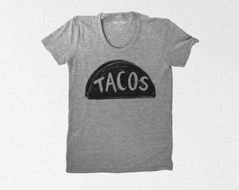 Women's Grey Taco Shirt -  gift for women - funny tshirt - graphic tee for women - tri blend t shirt gift for her - taco tuesday - teen girl