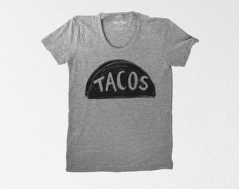 Women's Grey Taco Shirt, gift for women, funny tshirt, graphic tee for women, tri blend t shirt gift for her, taco tuesday teen girl gift