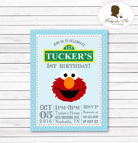 DIY Elmo 1st Birthday Party Invitation Elmo Invitation Elmo