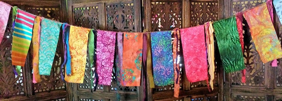 Gypsy Caravan Prayer Garden Flag Garland Hippie  Boho Decor