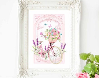 French bicycle with a basket of flowers print, romantic, vintage style, French country decor, A4 giclee