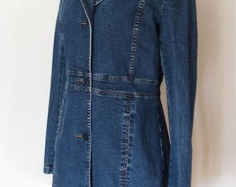 Vintage Jean Jacket Coat. 90s Knee Length Jean Jacket by HALOGEN – Women's sz S