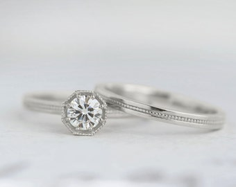 Half Carat Diamond Art Deco Engagement Ring | .50 carat Canadian Diamond Solitaire | Octagon Prong Setting | 14k 18k White Gold