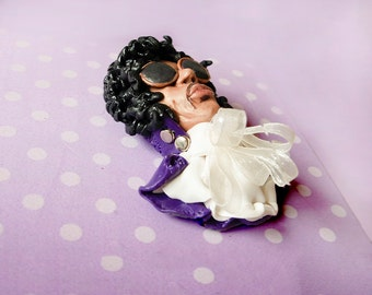 Prince, Purple Rain, Prince's  Birthday June 7, Prince Day,  Collectible, Icon, Singer-Songwriter, Brooch, Pendant Polymer clay, Figurine