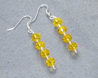 Yellow Crystal Earrings, Yellow Sparkly Earrings, Yellow Drop Earrings, Lemon Crystal Earrings, Yellow Bead Earrings, Gifts For Women,