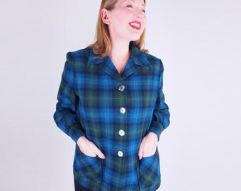 60s Vintage Pendleton 49er Jacket in Blue and Green Ombre Plaid Wool XL