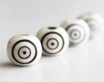 25 Carved Bone Circle Design 8x10mm