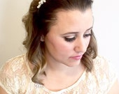 Bridal Head Piece with Swarovski Pearls and Fireball Rhinestone Beads, Halo for Wedding Day, Statement Bridal Hair Band