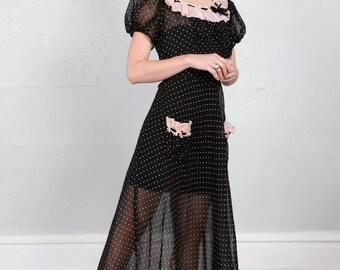 SALE- Pink & Black Polka Dot Organza Dress