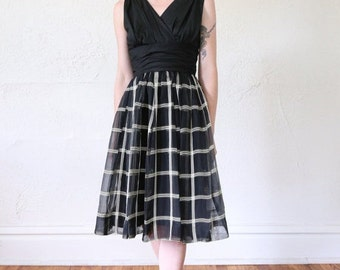 SALE- 1950s Cocktail Dress with Plaid