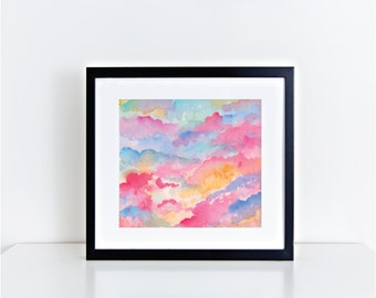 "Abstract Cloud Watercolor Fine Art Print 8x10 Summer Colors ""Ice Cream Clouds"""