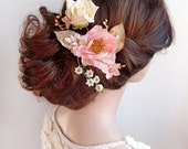 bridal hair clip, bridal hairpiece, pink and gold wedding, gold hair clip, gold hair comb, floral hair piece, pink flower, Swarovski, roses