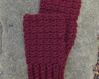 Oxblood Wine Fingerless Gloves, Crochet Fingerless Mittens, Ladies Hand Warmers, Womens Wrist Warmers, Texting Gloves, Gift for Her