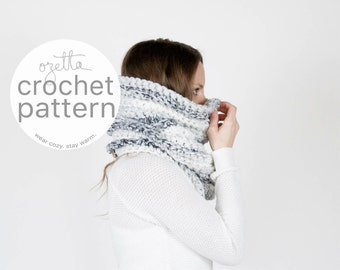 Crochet Pattern / Chunky Textured Ribbed Cowl, Tube Scarf, Thermal / THE NOORVIK