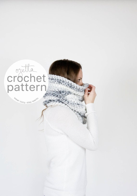 Pattern / Ozetta Crochet Chunky Textured Ribbed Cowl Tube Scarf Thermal Instant Download For The Noorvik