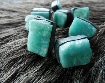 Amazonite earrings | Amazonite studs | Raw amazonite earrings | Rough stone studs | Amazonite post earrings | Amazonite jewelry | Beijo Flor