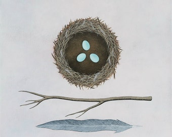 PRE-ORDER - Building A Nest 1 - Archival 8x8 Art Print - Contemporary Nature Painting - Bird, Eggs - by Natasha Newton