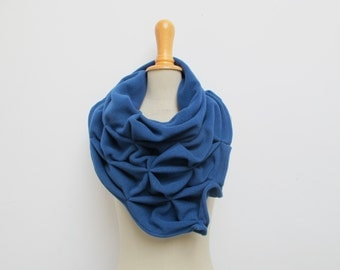 geometric wool shawl - superwarm sculptural wrap - triangular 100% wool scarf, blue