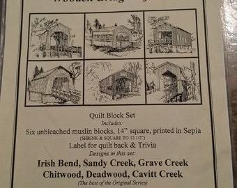 Quilt Blocks,  Set of 6, Covered Bridges